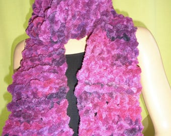 Extra long mixed unisex winter scarf - fuchsia, pink, Navy-look Velvet