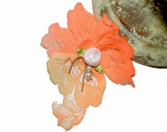 Flower brooch coral Calais lace