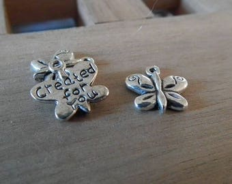 """X 10 PCs Butterfly charms ♥ """"created for you"""" 13mm ♥"""