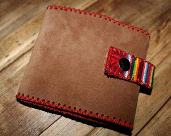 """Long"" light brown suede checkbook"