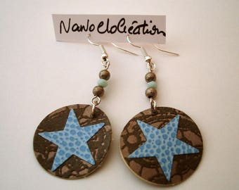 """Star"" paper blue faux leather earrings"