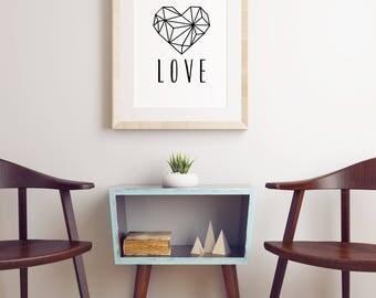 Geometric Heart Printable Poster (Black and White)