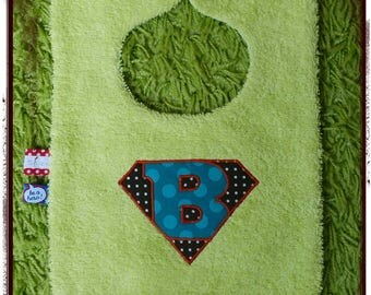 Blue and lime green bib logo Super baby