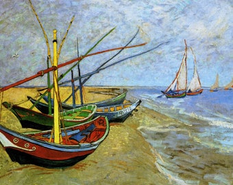 ORIGINAL design, durable and WASHABLE PLACEMAT - famous painters - Van Gogh - the Holy City boats.
