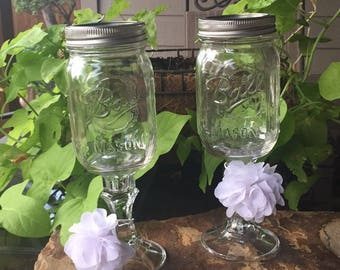 Mason Jar Wine Glass (set of 2)