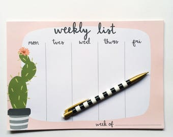 Cactus Weekly List Notepad, Undated Week Planner, Weekly To-Do List, Weekly Agenda, Weekly Scheduler, Succulent Notepad