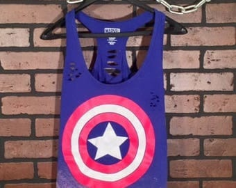 Captain America-Distressed Tee-Large-Marvel Comics- Destroyed tee- Super Hero t-shirt-Exclusive Shirt-Captain America Tee-Distressed-Bleach