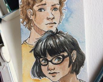 Lester/Apollo and Meg McCaffrey Watercolour Sketch cards, Percy Jackson, Camp Half Blood, SPQR