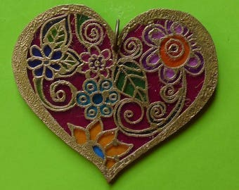 little Bohemian heart cloisonne with gold and colorful