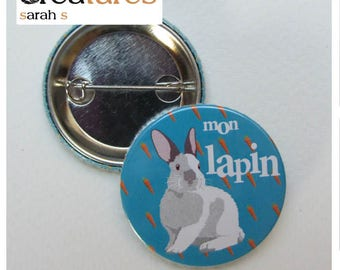 38mm badge * my rabbit * and carrots
