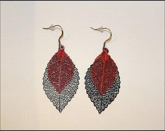 Earrings black and red enameled laser cut leaves