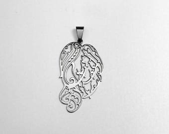 Zolf Persian poem calligraphy pendant Hafiz- stainless steel handcrafted Niakan