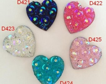 30pcs 20mm 2Hole Resin flower heart shape Flatback Rhinestone Craft Sewing Button Scrapbooking Cabochon Applique sewing Beads