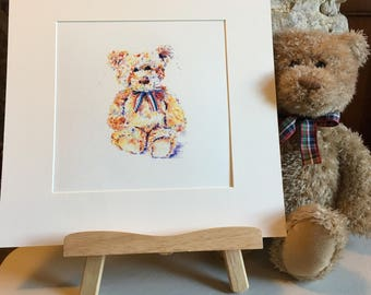Teddy Print, Nursery Decor, Watercolour Art, Ted Child Gift, Baby First Birthday Present