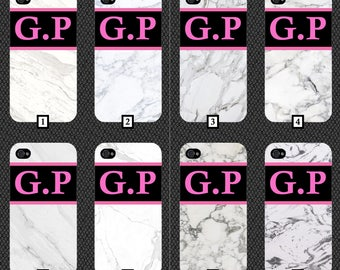 Personalised White Marble Phone Case With Your Name On A Black and Hot Pink Strip Customised Cover Cheap Effect Personalise White Plain