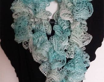 Crochet scarf, sashay, boa, frilly scarf Sashay scarf has ruffled scarf is hand, fashion, gift, made in Quebec