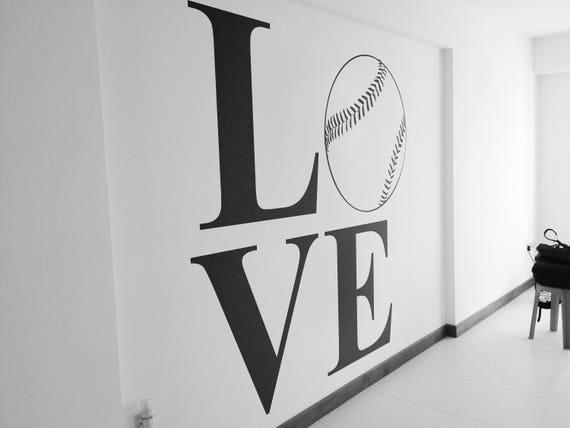 Love Baseball - Typography Wall Decals for Home Decor, Lettering, Baseball Game, World League, BAT, Major League Baseball, MLB