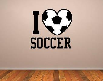 I Love Soccer Vinyl Decal