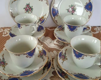 Vintage TK Thun Czechoslovakia Tea Set 12 Pieces 4 Trios