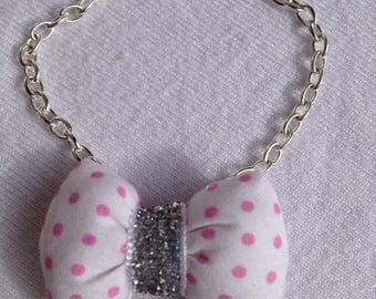 Pink BRACELET with knot pads in white fabric with polka dots