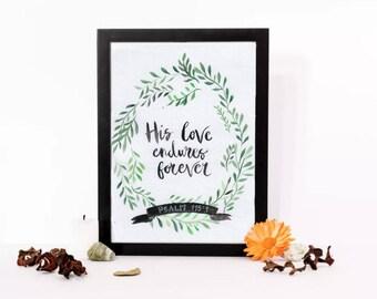 His love endures forever- bible verse,watercolor, digital