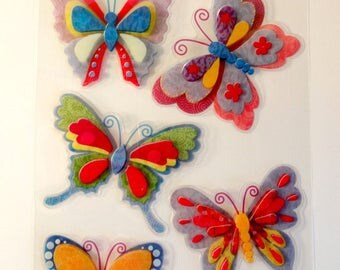 Stickers butterflies (x 5) colorful 3D - embossed stickers