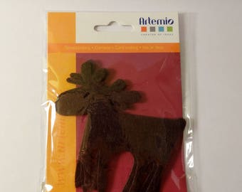 Large reindeer in brown felt (3 x) - Scrapbook - embellishments - Christmas
