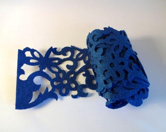 Band blue openwork felt - Arabesque - home decor, embellishment