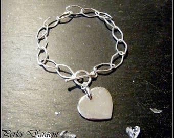 925 sterling silver heart chain bracelet
