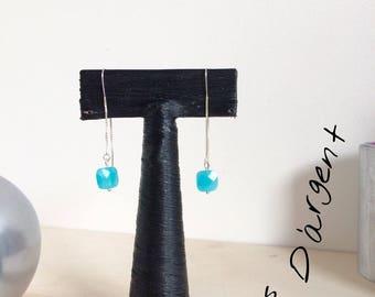 Aqua blue Pearl Wire Earrings