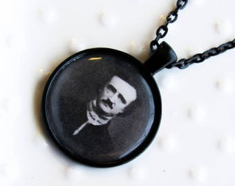 Edgar Allen Poe Round Metal Necklace - Horror Literature Art - Black metal necklace - Poetry Lover - Gift for a librarian - The Raven - poem