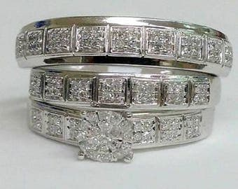Regaalia Jewels Men Ladies 14K White Gold Over Round Cut Diamond Bridal Engagement Ring Trio Set All Size Available FREE SHIPPING
