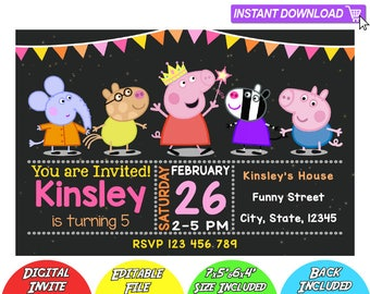 SALE 80% OFF: Peppa Pig Invitation, Peppa Pig Instant Download Invitation, Peppa Pig Invitations, Peppa Pig Birthday Invitation, Peppa Pig