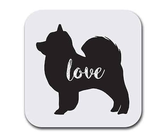 Pomeranian Dog Love My Pom Pom Dog  Coaster Set of Six - Dog Gift Coasters for Drinks - Absorbent | Furniture Safe - Gifts Home - Quality