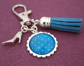 DOTS BLUE - PC012 BAG CHARM KEY RING