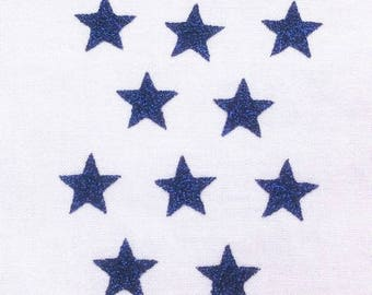 10 little stars clothing dark blue glittery 15x15mm