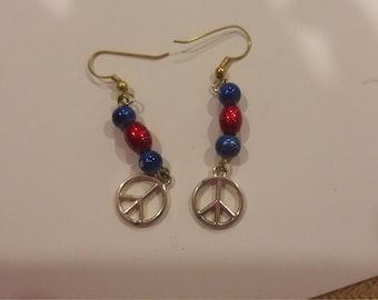 Peace charms with red and blue beaded earrings