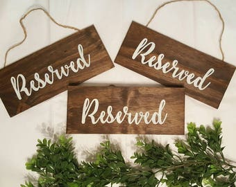Wedding Reserved Sign, Wood Reserved Sign, Reserved Sign, Wooden Sign, Wedding sign, Ceremony Sign, White Wash, Rustic Wedding Sign, Chair