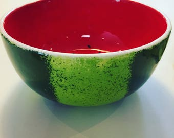 Hand painted watermelon bowl- Medium size