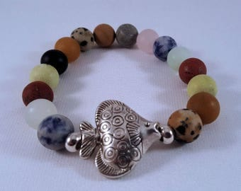 Gemstone bracelet made of colourful agate beads, silver-plated fish and pearls, elastic band