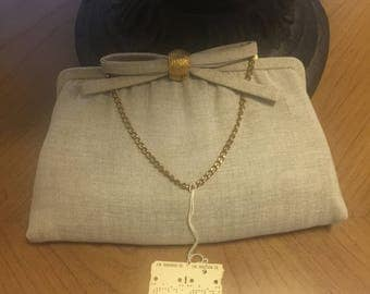 Vintage After Five Clutch Bag Gold Oatmeal Tan