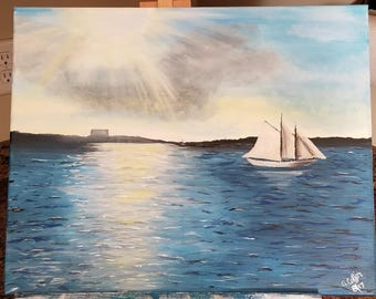 Portland Harbor acrylic painting