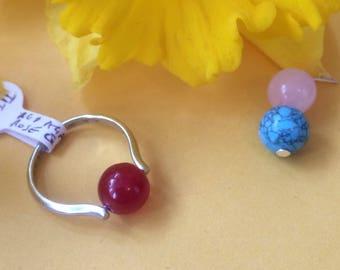 3 in 1 titanium plated  ring - red agate, rose quartz and turquoise magnesite