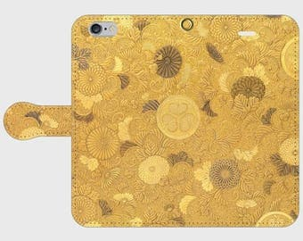 """Wallet phone case """"Portable Writing Cabinet with Tokugawa Family Crests, Chrysanthemums, and Foliage Scrolls"""""""
