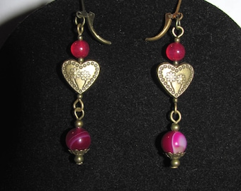 Fuscia pink agate and worked heart earrings