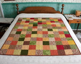 Fall Patchwork Quilt- Paisley Backing
