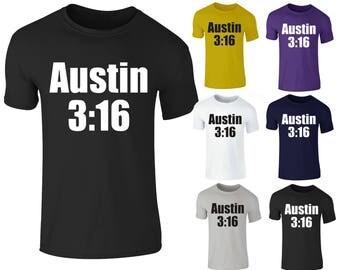 Mens Stone Cold Steve Austing 3:16 Wrestling WWE T-Shirt Top