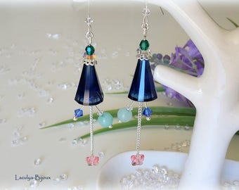 "Earrings in Silver 925 & Swarovski Elements - ""Artemis"" Dark Indigo - Emerald and Sapphire Butterfly Pink Pearl powder-Amazonite"