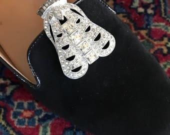 Antique Rhinestone Silvertone Pair of Shoe Clips