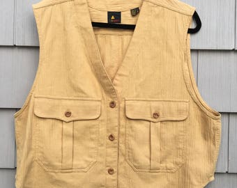Vintage Lizsport Textured Cotton Vest L
